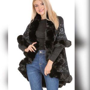 Luxe Black Floral Faux Fur Double Layer Cape Coat
